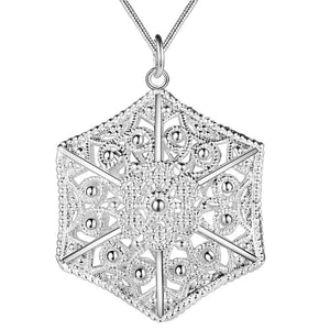 Six Sided Filigree Puffed Cage Silver Necklace