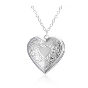 Floral Design Stamped Silver Heart Locket Necklace For Woman