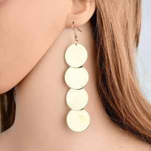 ON SALE - Dangling Burnished Circles Earrings in Gold or Silver