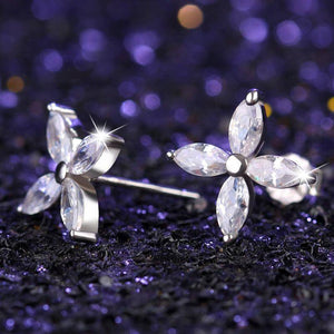 Four Petals Austrian Crystal Flower Stud Earrings for Women or Girls