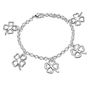 ON SALE - Four Leaf Clover Silhouette Sterling Silver Bracelet