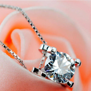14K White Gold Plated Naked Swiss CZ Solitaire Necklace Plus Pair of Naked IOBI Crystals Drill Earrings For Woman