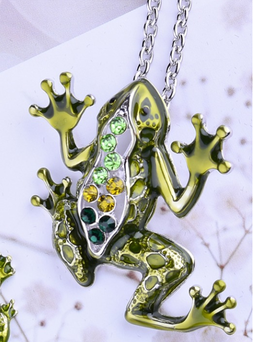 Fabulous Frog Enamel & CZ Pendant Necklace for Woman