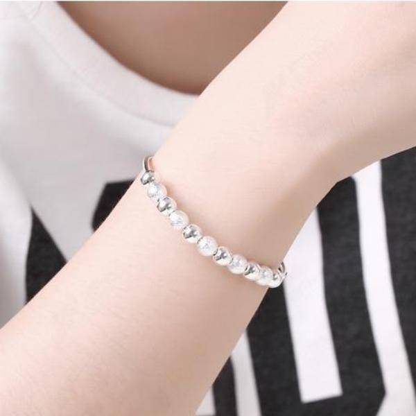 ON SALE - Frost & Shine Beaded Silver Bangle Bracelet