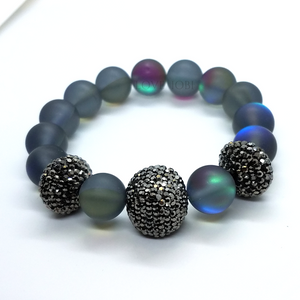 Frosted Quartz Labradorite Stretch Bead Bracelet