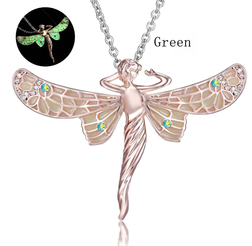 ON SALE - Glow In The Dark Dragonfly Fairy Pendant Necklace