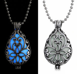 Glow in The Dark Filigree Locket Necklace