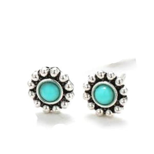 Tiny Blue Daisy Stud Earrings