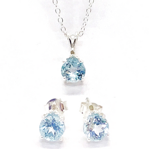 Genuine Blue Topaz & Diamond Accented IOBI Precious Gems Necklace & Earrings Set