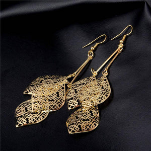 ON SALE - Dangling Batik Leaf Earrings in Gold or Silver