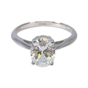 Gia 2CT Oval Solitaire IOBI Lab Created Diamond Ring