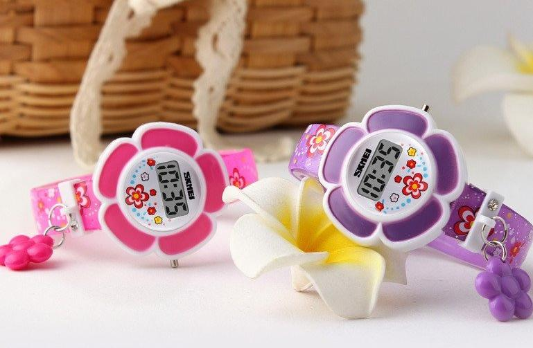 ON SALE - Flower Girl Digital Watch in Pink or Purple - Kids Watch