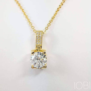 Giselle 1CT Tension Set IOBI Simulated Diamond Solitaire 18K Gold Plated Over Sterling Silver Pendant for Women