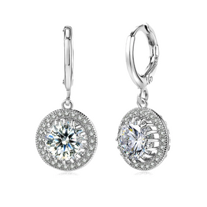 ON SALE - Glorious Halo 2.4CTW  Swiss CZ Drop Hoop Earrings
