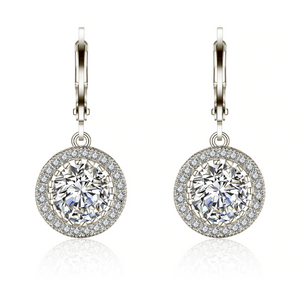 Virtuous Halo Zirconia Drop Hoop Earrings