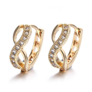 ON SALE - Sparkling Infinity Huggie Hoop Earrings