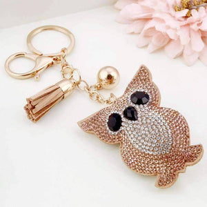Puffed Owl Crystal Purse Charm Keychain - In Two Colors