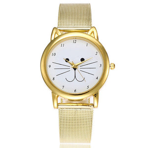 ON SALE - Cats All The Time Gold Mesh Watch