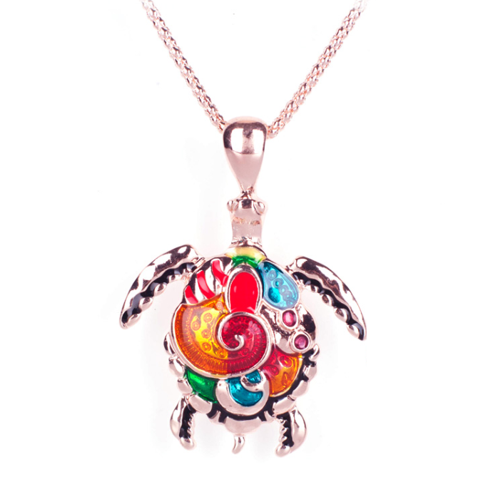 Artsy Sea Turtle Enamel Pendant Necklace For Woman