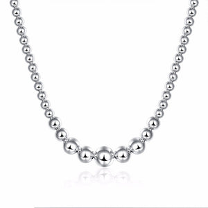 Graduated Beads Silver Necklace