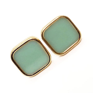 Geometric Mint Button Stud Earrings
