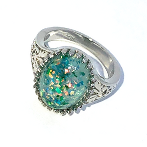 ON SALE - Vintage Green Opal Cabochon Ring