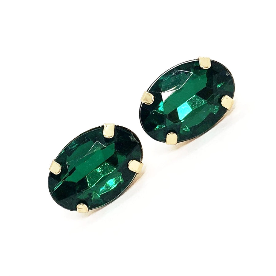 ON SALE - Green Oval Rhinestone Stud Earrings