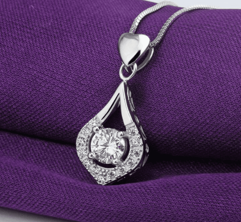 ON SALE - Heart Drop Wrapped CZ Diamond Necklace