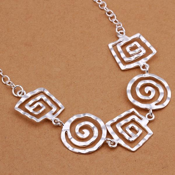 Hammered Geometric Silver Necklace