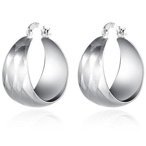 Harlequin Silver Dome Hoop Earrings