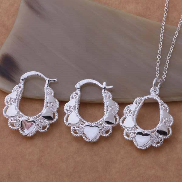 Secret Heart Silver Necklace and Earrings Set