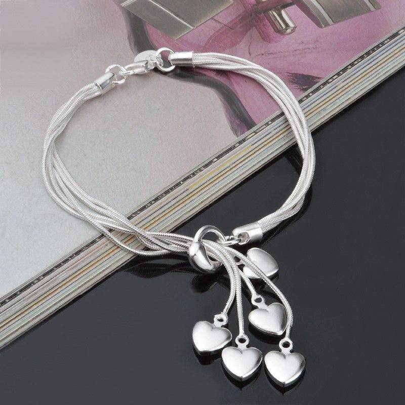 Heart Strings Multi Strand Silver Tassel Bracelet For Woman