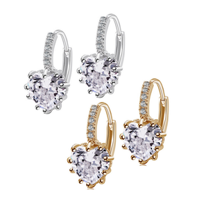 18K Gold Plated Heart Shaped Diamond CZ Solitaire Hoop Earrings For Woman