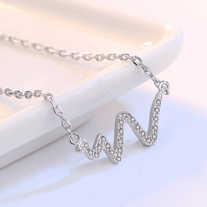 Heartbeat CZ  Silver Necklace