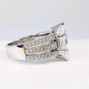 ON SALE - Helena 3CT Marquise Cut Triple Pavé Band IOBI Lab Created Diamond Ring