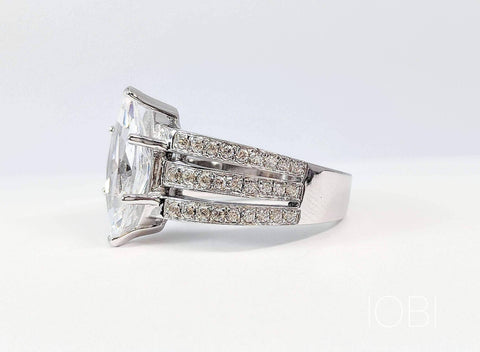 Helena 3CT Marquise Cut Triple Pavé Band IOBI Cultured Diamond Ring