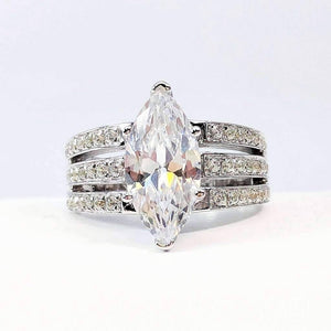 Helena 3CT Marquise Cut Triple Pavé Band IOBI Simulated Diamond Ring