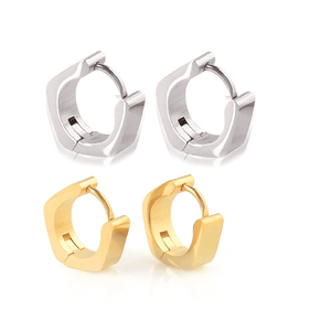 Angled Stainless Steel Huggie Hoop Earrings