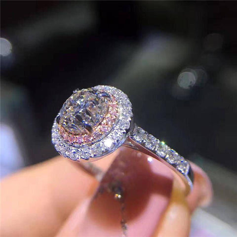 Hint Of Pink CZ Halo Ring