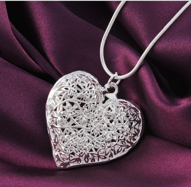 Flowering Heart Silver Necklace