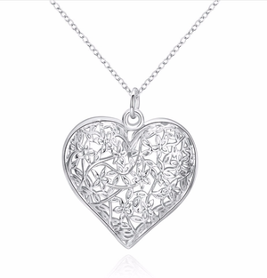 ON SALE - Flowering Heart Silver Necklace