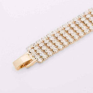 Hollywood Glam Five Strand Gold and CZ Bracelet
