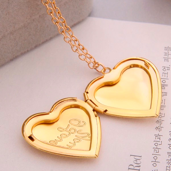 I Love You Yellow Gold Heart Locket Necklace