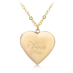 ON SALE - I Love You Yellow Gold Heart Locket Necklace