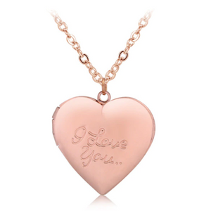 I Love You Rose Gold Heart Locket Necklace