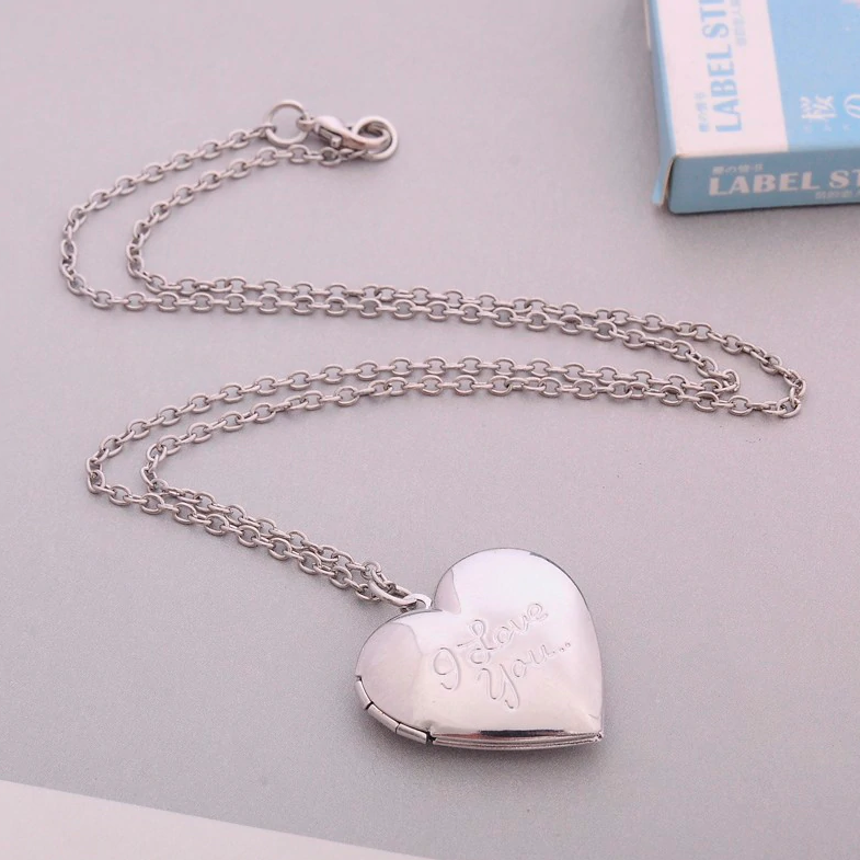 I Love You Silver Heart Locket Necklace