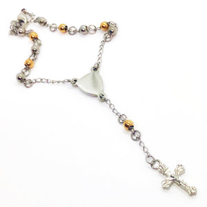 Two-Tone Stainless Steel Rosary Bead Bracelet