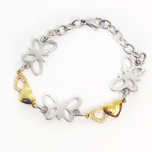 ON SALE - Butterfly Hearts Two Tone Stainless Steel Bracelet