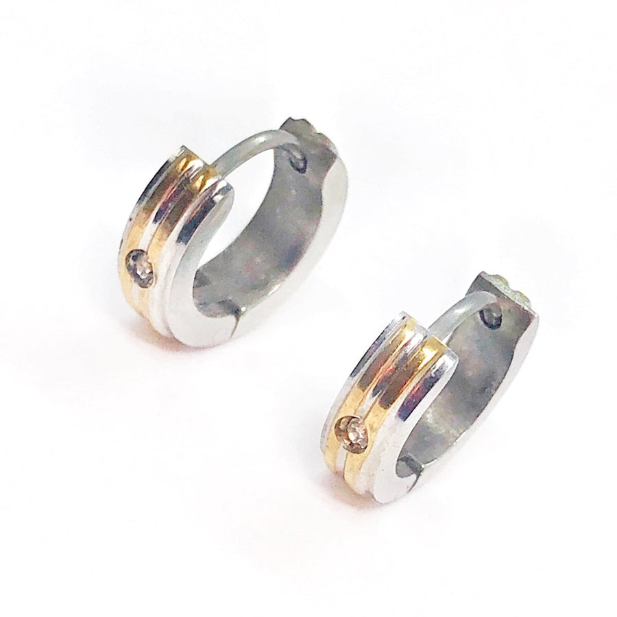 Two Tone Stripes CZ Stainless Steel Huggie Hoop Earrings - For Men or Women
