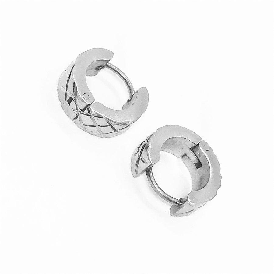 Wide Diamond Cut Stainless Steel Huggie Hoop Earrings